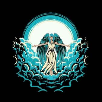 Flying women angel illustration for tshirt design and print
