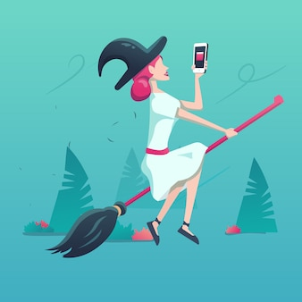 Flying young witch with phone and broomstick illustration
