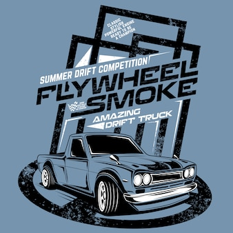 Flywheel smoke amazing drift truck, illustration of competition truck drif