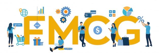 Fmcg。動きの速い消費財の頭字語。動きの速い商品、短期商品。