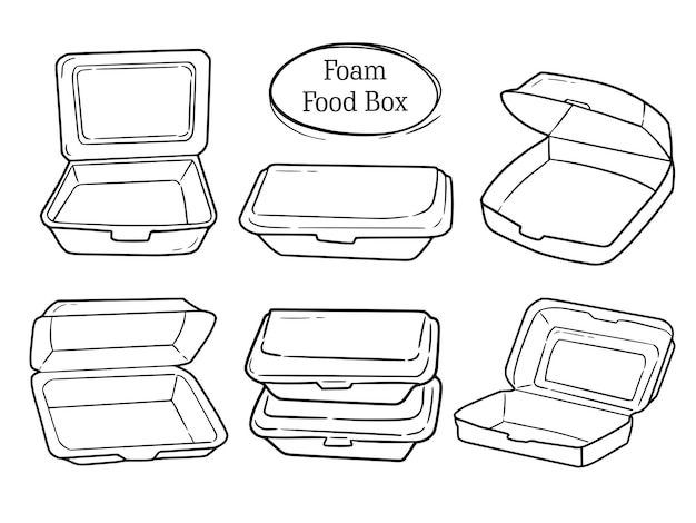 거품 음식 상자 세트 낙서 드로잉 컬렉션
