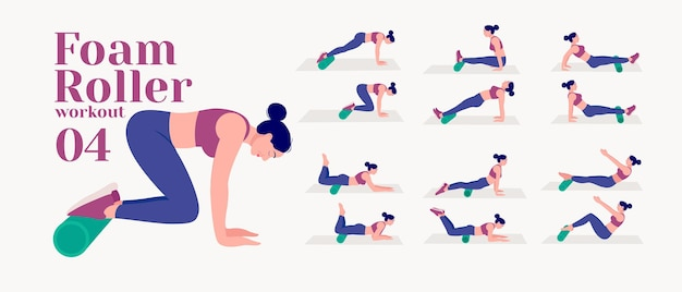 Foam roller workout women doing fitness and yoga exercises