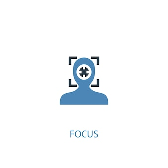 Focus concept 2 colored icon. simple blue element illustration. focus concept symbol design. can be used for web and mobile ui/ux