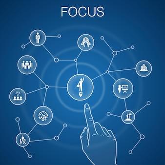 フォーカスコンセプト、青い背景。ターゲット、モチベーション、整合性、プロセスアイコン