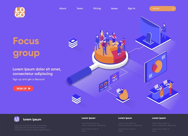 Focus group 3d isometric landing page illustration with people characters