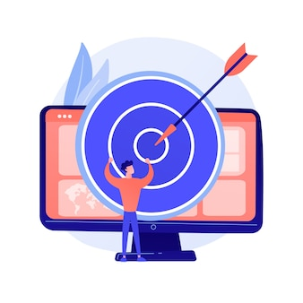 Focus group business research. data analytics company profitable strategy planning. dartboard on computer monitor. corporate goals and achievements concept illustration