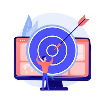포커스 그룹 비즈니스 연구. 데이터 분석 회사의 수익성있는 전략 계획. 컴퓨터 모니터에 다트 판이. 기업 목표와 성과 개념 그림
