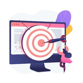 포커스 그룹 비즈니스 연구. 데이터 분석 회사의 수익성있는 전략 계획. 컴퓨터 모니터에 다트 판이. 기업 목표 및 성과.