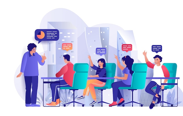 Focus group flat design concept illustration of people characters