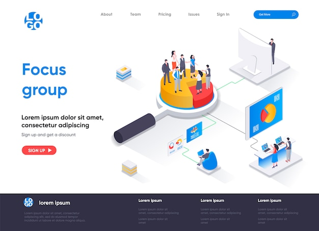 Focus group isometric landing page