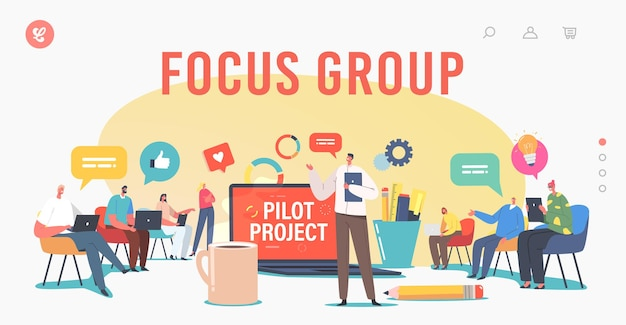 Focus group landing page template. director and employees meeting. tiny businesspeople around huge laptop discuss pilot start up project, brainstorm, conference. cartoon people vector illustration