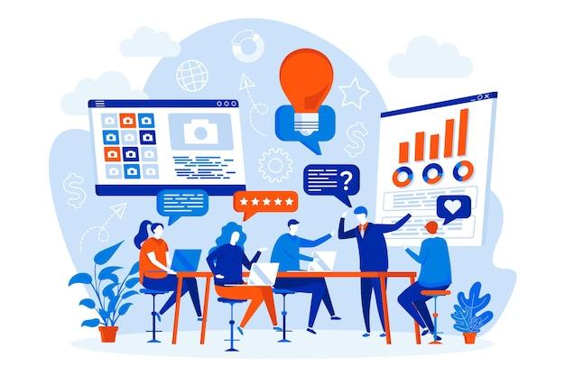 사람들이 문자로 포커스 그룹 웹 디자인 컨셉