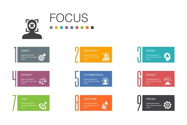 インフォグラフィック10オプションラインのコンセプトに焦点を当てます。ターゲット、モチベーション、整合性、シンプルなアイコンを処理します