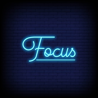 Focus neon signs style text