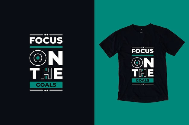 목표 현대 동기 부여 따옴표 t 셔츠 디자인에 초점
