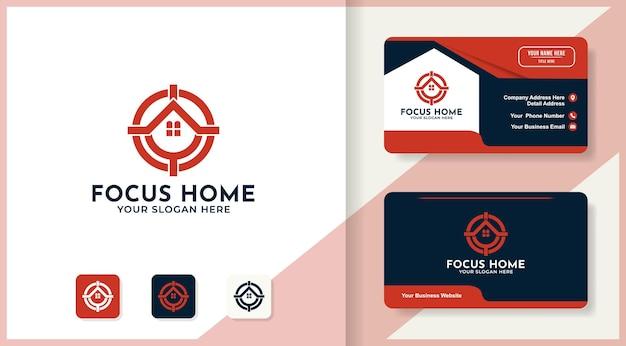 Focus symbol combine house logo and business card design