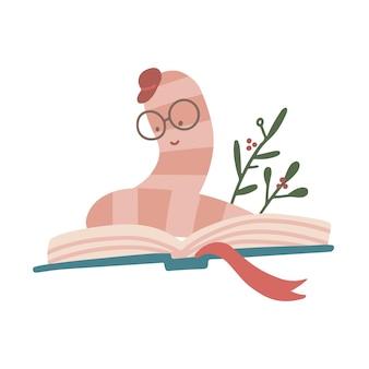 집중된 작은 책벌레는 열린 책에 앉아서 조심스럽게 평평한 손으로 그린 벡터 삽화를 읽습니다.