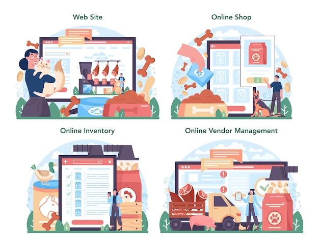 사료 산업 온라인 서비스 또는 플랫폼 세트. 애완 동물 및 가정용 식품