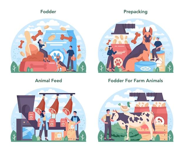 사료 산업 세트입니다. 애완 동물 생산을 위한 식품 개와 고양이 그릇 및 식품 패키지. 농장 및 가축을 위한 식사. 격리 된 평면 벡터 일러스트 레이 션