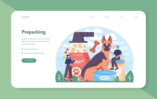 Fodder industry web banner or landing page. food for pet production. dog and cat bowl and food package. meal for farm and domestic animal. isolated flat vector illustration