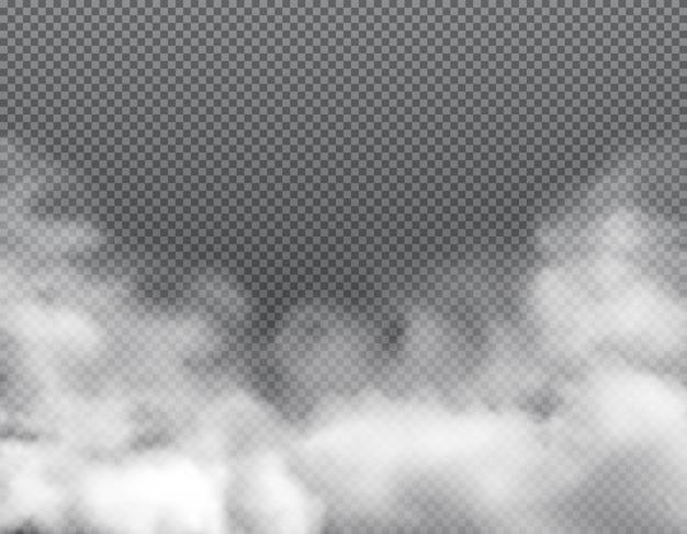 안개 또는 구름, 먼지 스모그, 현실적인 벡터 배경으로 유독한 김이 나는 증기를 연기합니다. 흰 스모그의 구름, 또는 가스의 먼지 폭발, 연기가 자욱한 가루의 증기 및 유독성 공기 튀김