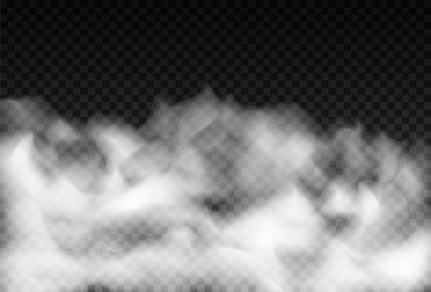 霧や煙は、透明な特殊効果を分離しました。白いベクトル曇り、ミストまたはスモッグの背景。