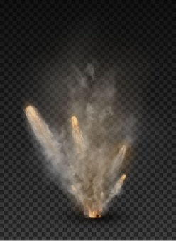 Fog and smoke explosion isolated on transparent