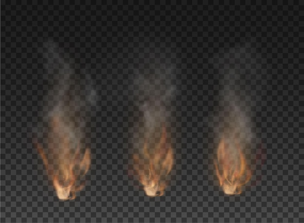 Fog and smoke fire isolated on transparent background