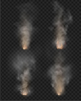 Fog and smoke. fire isolated on transparent background