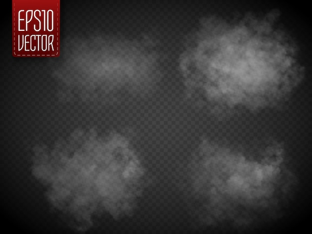Fog or ssmoke isolated. white vector cloudiness, mist or smog