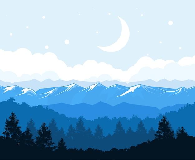 산 기슭에 안개 숲-바위 풍경