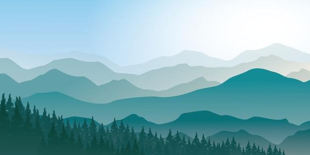 松林の景観を持つ霧の山々。青い山の風景ベクトルイラストレーター