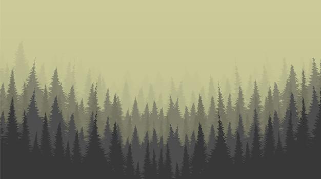 Туманный сосновый лес фон, одинокая сцена концепции дизайна