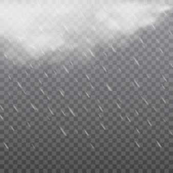 Туманная дождливая погода в прозрачном фоне. Вектор