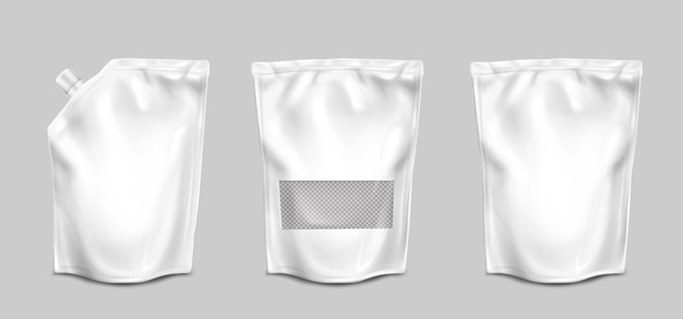 Foil bags with nozzle and transparent surface front view