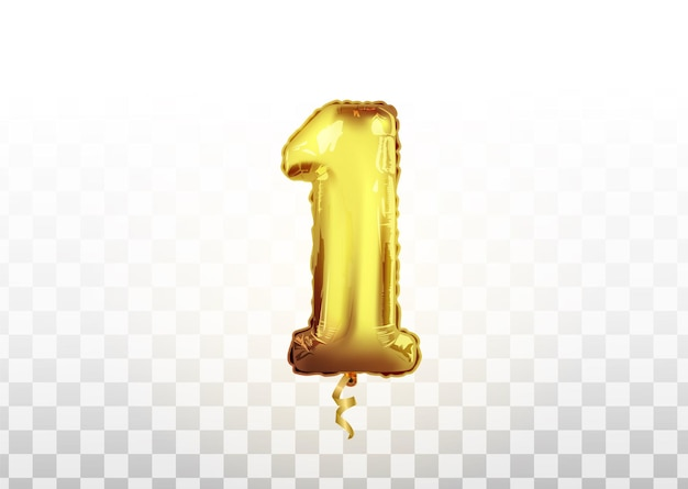 포일 볼 1번 골드. 투명한 배경에서 초대 장식을 위한 벡터 현실적인 격리된 황금 풍선 번호 1입니다.