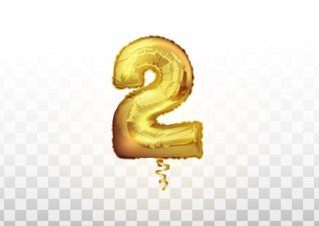フォイルボールナンバー2ゴールド。透明な背景の招待状の装飾のための2の現実的な孤立した黄金の風船番号をベクトルします。