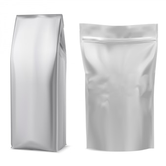 Foil coffee bag. white pouch. 3d package