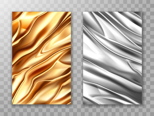 Foil golden and silver, crumpled metal texture set