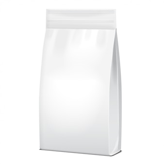 Foil or paper food or household chemicals white bag packaging. sachet snack pouch food for animals.