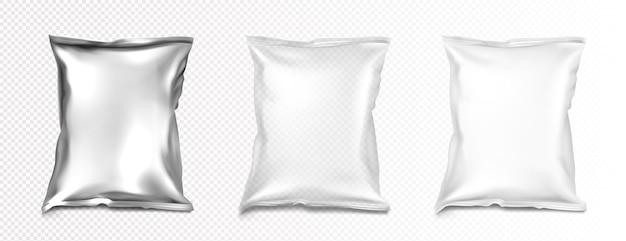 Foil and plastic bags mockup, blank white, transparent and silver metallic colored pillow packages mockup.