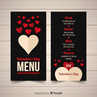 Fold heart valentine's day menu