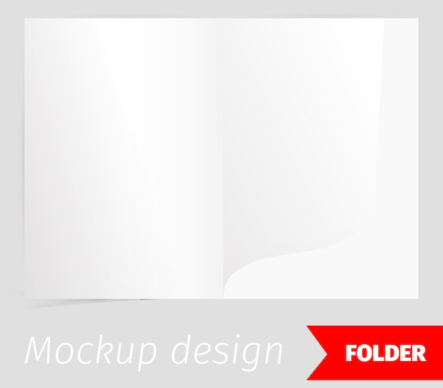 Fold realistic mockup design with shadow effect