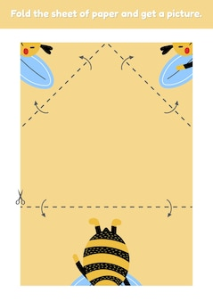 Fold the sheet of paper and get a picture cute bumblebee. education game for kids. worksheet for kindergarden and preschool age. development fine motor skills. vector illustration.
