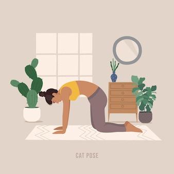 折り畳みヨガのポーズヨガの練習を練習している若い女性