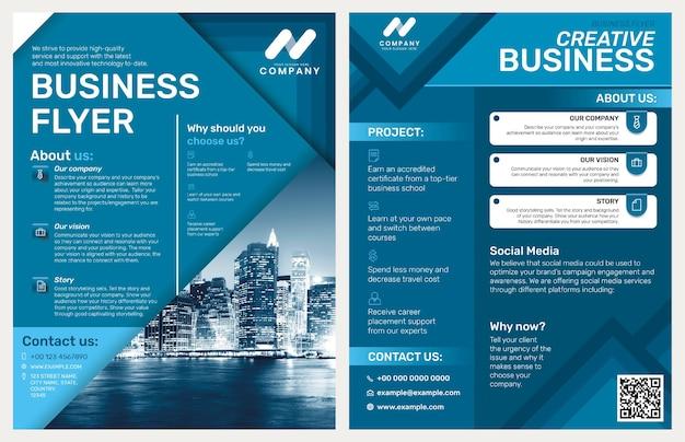 Foldable business flyer template in blue modern design