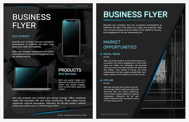 Foldable business flyer template in modern design