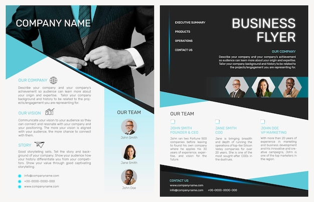 Foldable business flyer template vector in modern design