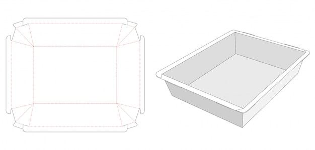 Foldable food container tray die cut template