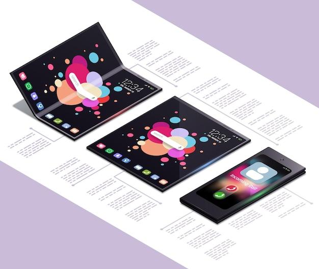 Composizione isometrica nel concetto di gadget pieghevoli con i modelli elettronici di smartphone touch screen di prossima generazione con illustrazione del testo,